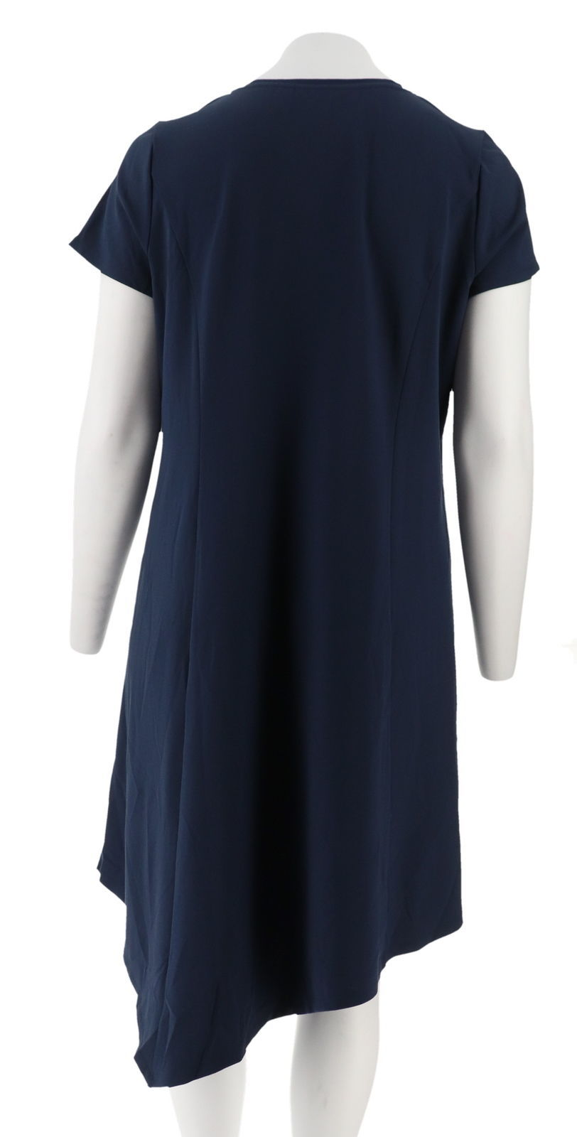 H Halston Crepe Knit Midi Dress Asymmetric Hem Navy M NEW A305390