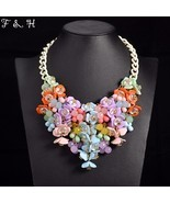 necklace women colorful flower Chunky chain vintage collar party jewelry - £18.38 GBP