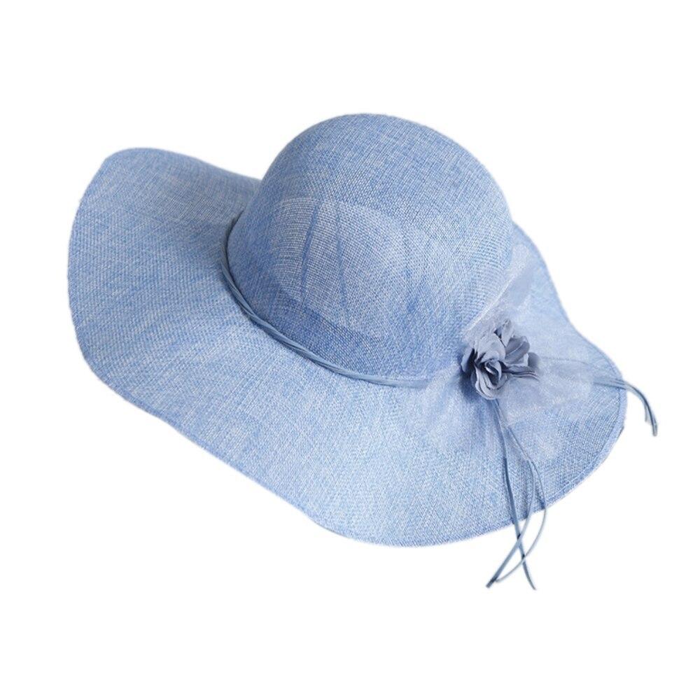 Wide Brim Floral Bow Straw Hat Women Beach Sun Hats Summer Floppy Cap Travel UV