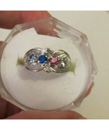 14K Mother's Ring White Gold 4 Birthstones Size 5 Sapphire Multi Color G... - $178.19