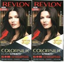 (2) Revlon Luxurious Colorsilk Buttercream 51 / 50A Medium Ash Brown Hair Dye - $22.49