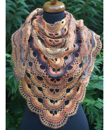 Crochet triangle Shawl, Fall Crochet Wrap, Crochet Scarf, Baktus scarf - $65.00