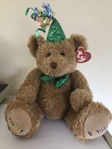 TySILK BEANIE BUDDY Happy Birthday Brown MNWT Green Party Hat Plush 2006... - $11.64
