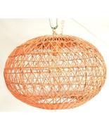 Mid Century chandelier ball woven wicker orange glass shade diffuser inside - $19.79