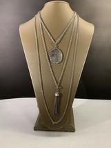 Vintage Emmons Triple strand Silvertone locket And Tassel necklace - $35.00