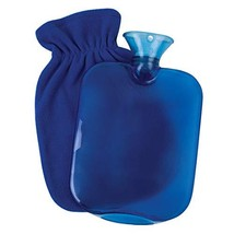 Carex, Hot Water Bottle with Fleece Cover, Threaded Stopper Prevents Leaking, La