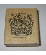 Daffodil Flowers Basket Rubber Stamp Bee Stampin' Up! Ribbon Spring Retired - $5.81
