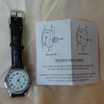 Vintage 1980s Quartz Men's Watch Textured Dark Brown Leather Band Unused image 2