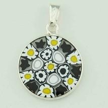 18mm Murano Millefiori Lampwork Glass Pendant 925 Italian Silver Black Y... - $19.95