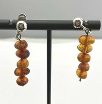 Vintage Artisan Amber Drop Earrings, Screw-On - $23.74