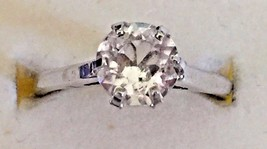 Vintage Sterling Silver Ring with Clear Solitaire Setting,  Size 6 - $15.84