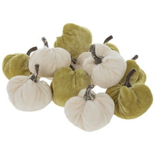 Primary image for 12PC CREAM & GREEN VELVET PUMPKINS GOURDS FALL HOME DECOR THANKSGIVING CRAFTS