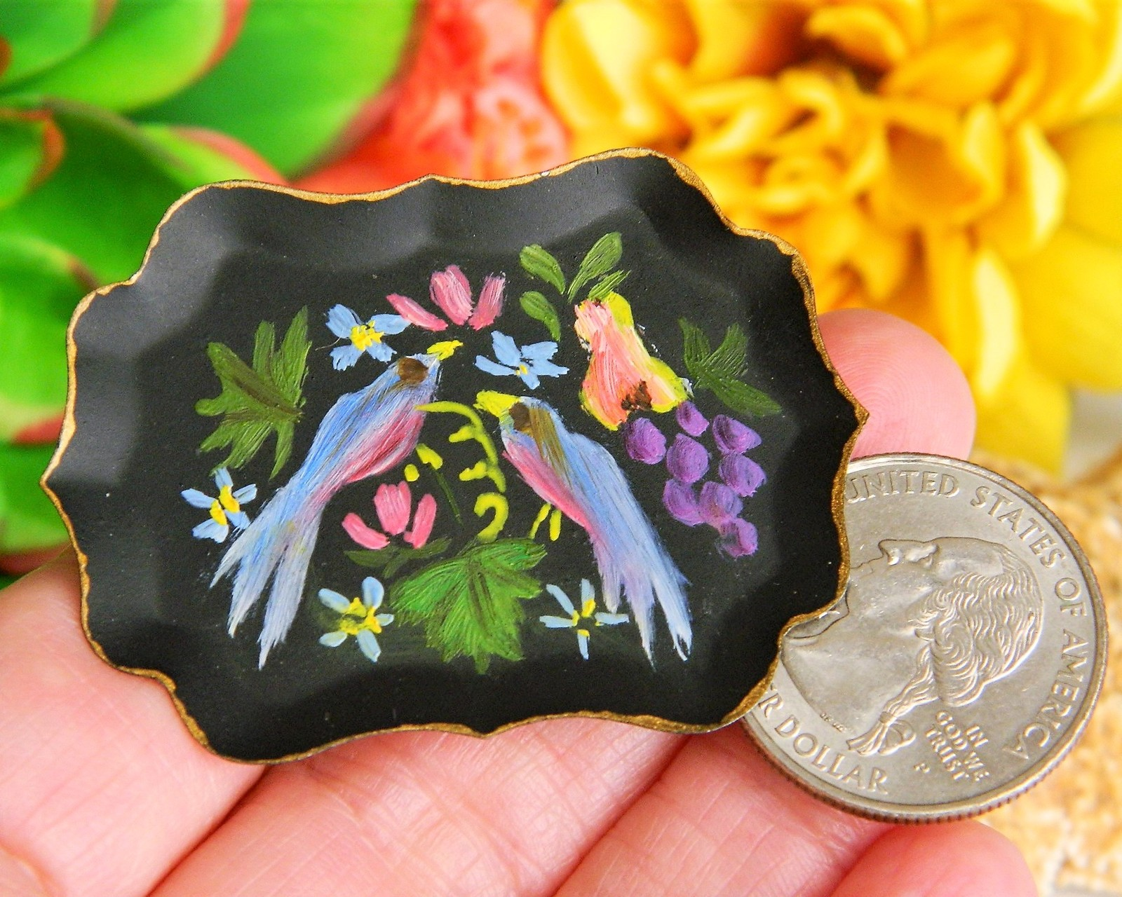 Vintage Birds Fruit Flowers Tole Art Tin Tray Hand Painted Brooch Pin