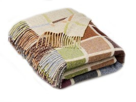 Geometric Merino Lambswool Multi Block Beige Multi Throw Blanket - ₹8,506.58 INR