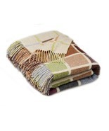 Geometric Merino Lambswool Multi Block Beige Multi Throw Blanket - £92.50 GBP