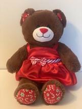 Build A Bear White Peppermint Kisses Candy Cane Christmas Bear W Dress - $18.69