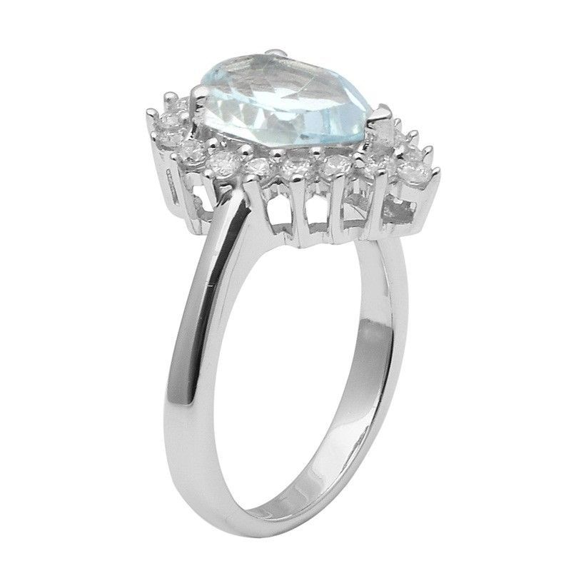 Blue Topaz,White Topaz 925 Sterling Silver Ring Shine Jewelry Size-9 SHRI1429