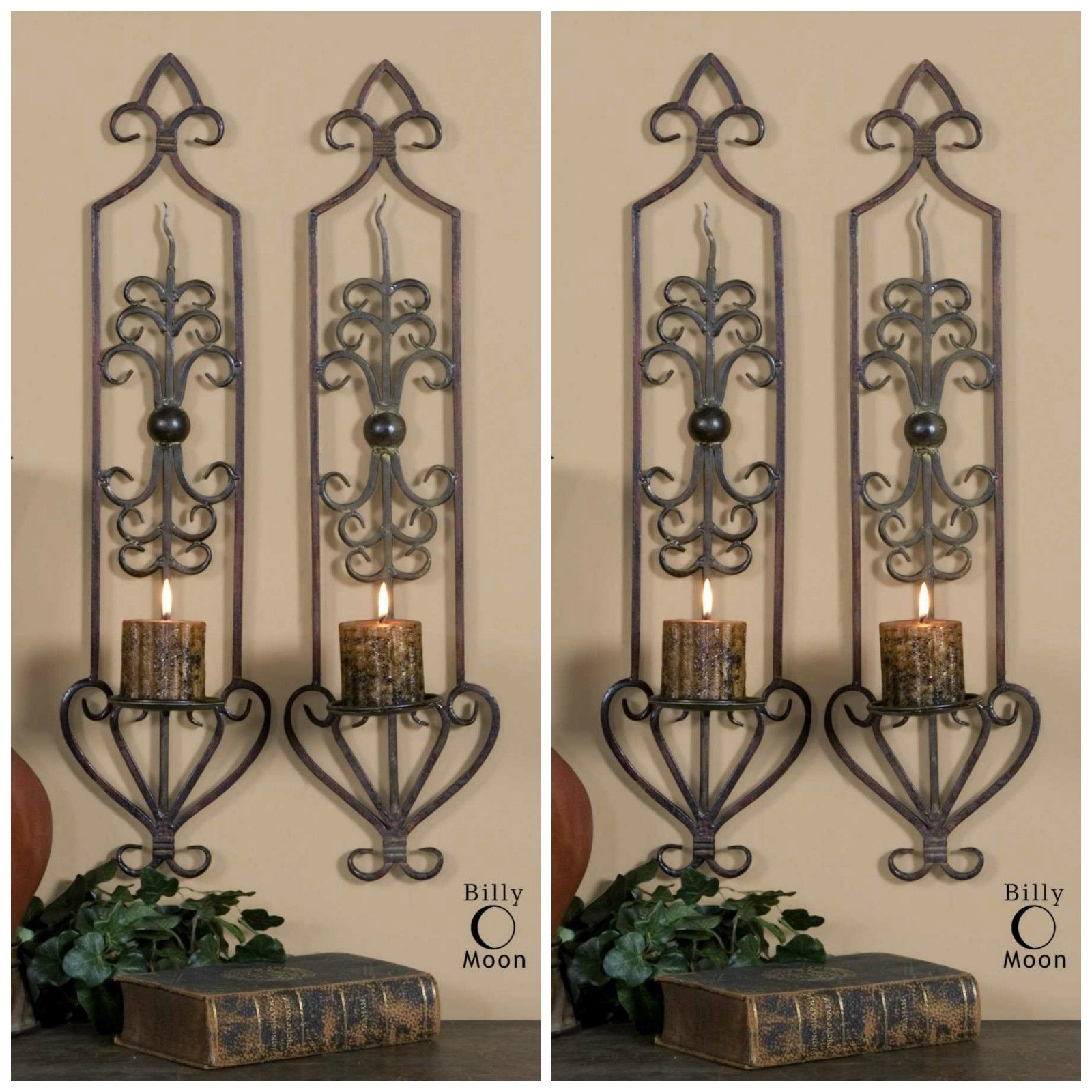 """FOUR FARMHOUSE 30"""" ANTIQUED RUST BROWN FORGED METAL WALL ..."""
