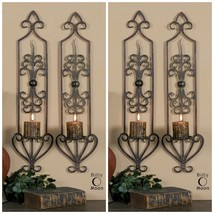 "Four Farmhouse 30"" Antiqued Rust Brown Forged Metal Wall Sconce Candle Holders - $294.80"