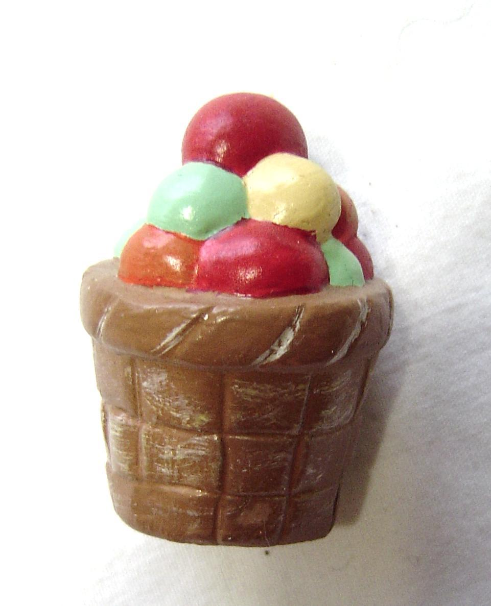 Primary image for  Miniature Ceramic Multi Colored Balls in a Brown Basket