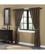 Black Check Scalloped Lined Panel Set 84x40 Black khaki Farmhouse Curtains - $69.00