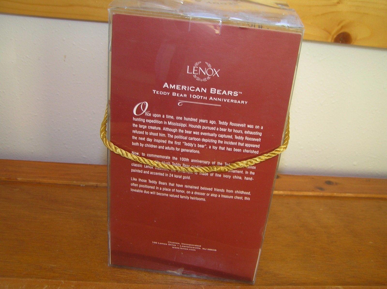 Lenox American Bears Teddy Bear 100th Anniversary Small Plush & China Tree Ornam