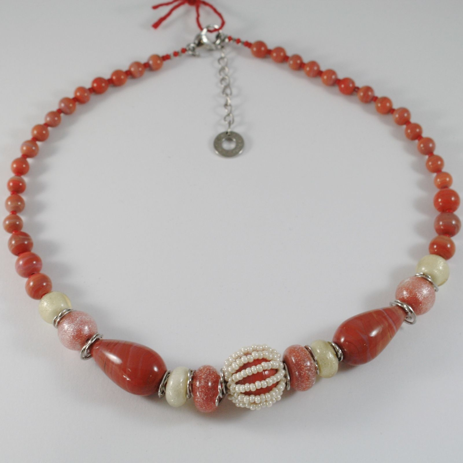NECKLACE ANTICA MURRINA VENEZIA WITH MURANO GLASS RED AND BEIGE COA07A25