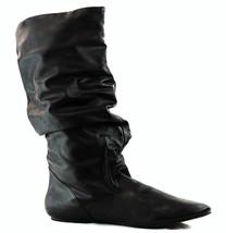 FAHRENHEIT IZO-02 Women's Black PU Flats Fashion Knee High Slouchy Dress... - $18.99