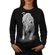 Panther Blue Eyes Animal Jumper Big Cat Fun Women Sweatshirt - $18.99