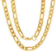 """STEELTIME Unisex 18K Gold Plated Stainless Steel Figaro chain necklace 24"""" - $19.99"""
