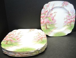 Six Royal Albert Square Luncheon Plates - Blossom Time Pattern - $56.99
