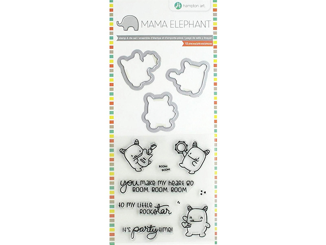 "Mama Elephant Stamp & Die Set 4""X8"" - Rock Monster #SC0828"