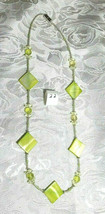 "Peridot Mother of Pearl Squares, Peridot Firepolished Beads Necklace 22""  (#22)"
