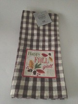 Brown Plaid Kitchen Towel Autumn Leaves Happy Fall Yall  27 Inch New wit... - $11.63