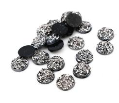 80pcs 8mm Gun Black Round Resin Druzy Cabochon Flatback Craft Jewelry Ma... - $12.00