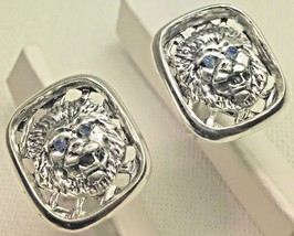 Lion head Blue Spahire cufflinks Artisan made sterling silver - $74.00