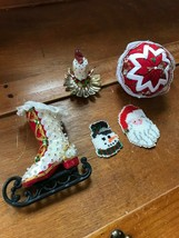 Lot of 5 Hand Made Star Fabric Sequin Skate Beaded Snowman Santa Claus C... - $13.99