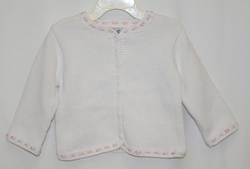 Fingerprints New York White Pink Ribbon button Sweater 6 Month