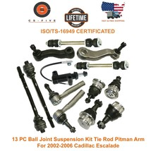 13 PC Ball Joint Suspension Kit Tie Rod Pitman Arm For 02 - 06 Cadillac ... - $110.45