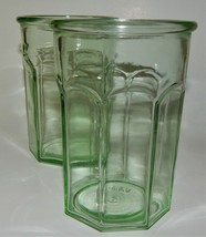 2 Green Depression Pre Anchor Hocking Glass Octagonal Tumblers Working Glasses - $59.39