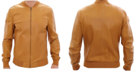 Men's New Super Latest Fashion Tan Goat Leather Bomber Biker Jacket BJ1 - $141.67