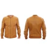 Men's New Super Latest Fashion Tan Goat Leather Bomber Biker Jacket BJ1 - $141.67