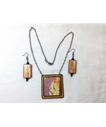 Set Women Necklace And Earrings Handmade Polymer Clay Abstract Sunrise B... - $45.00