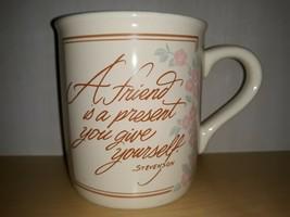 Vintage Hallmark Mug Mates A Friend Floral and Wheat 2 Side Quote Coffee Mug - $12.59