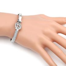 UE-Designer Silver Tone Bangle Bracelet, Buckle Clasp & Swarovski Style ... - $21.99