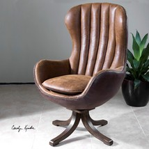 "NEW 47"" MID CENTURY STYLE SWIVEL HIGH BACK ACCENT CLUB CHAIR FAUX LEATHE... - $1,097.80"