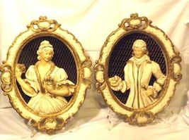 Plaques Ceramic Victorian His and Her  AA18-1328 Vintage image 4