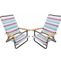2 Folding Beach Chair Camping Chair Arm Lightweight Portable 3-Position Stripes - $69.39