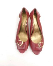 Circa Joan & David red Leather Open Toe Heels Size 9 - $18.99