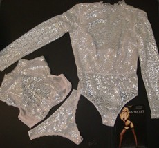 Victoria's Secret unlined 34DD BRA SET+L TEDDY ONE-PIECE foil blush PINK... - $118.79